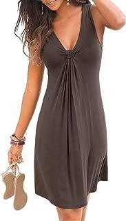 Women Casual Dress Summer Sleeveless Pleated Print Beachwear Tank Sundresses S-XL