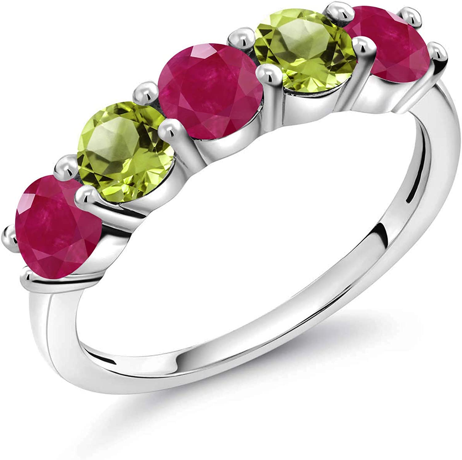 Gem Import Stone King 925 5 ☆ popular Sterling Silver Ruby Green Peridot and Wo Red