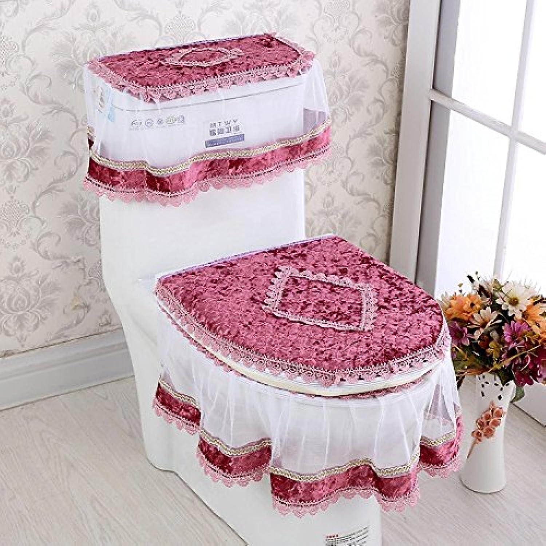 MKSFY Toilet Seat Cover Zipper Pad Bathroom 3 Sets Of Lace Universal Ring Antibacterial Waterproof European, Plush Wine Red