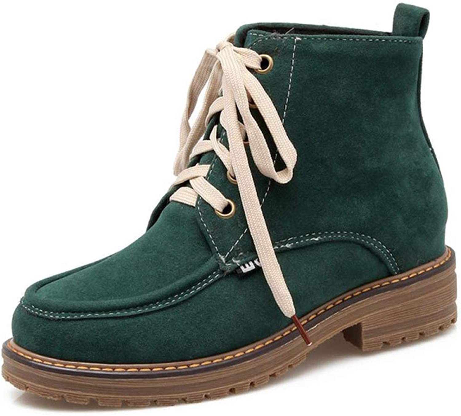 Fashion shoesbox Women's Lace Up Low Heel Work Combat Boots Round Toe Waterproof Short Ankle Bootie Hiking Boots