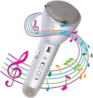 NK Karaoke Microfoon Bluetooh- 3W Luidspeker, Verjaardagscadeau,Compatibel met iOS Android Bluetooth Apparaten (Zilver)