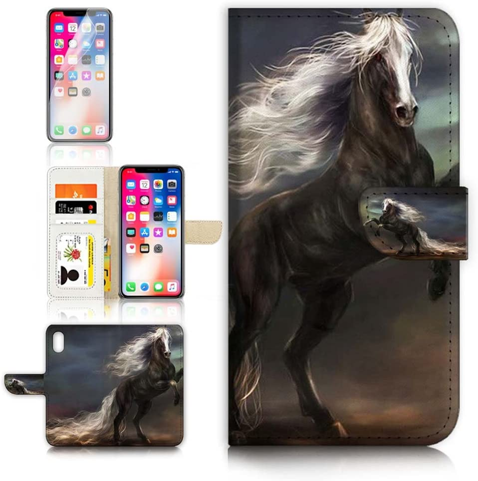 (for iPhone Xs/iPhone X) Flip Wallet Case Cover & Screen Protector Bundle - A31070 Horse