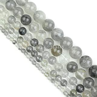 ZRBC Bulk Wholesale Assorted Natural Round Full Strand Healing Gem Semi Precious Stone Beads for DIY Bracelet Necklace Jewelry Making (Color : Grey Cloudy Quartz, Size : 10mm)