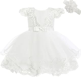 Baby Girls Embroidery Flower Dress Lace Christening Baptism Gown for Baby Girl