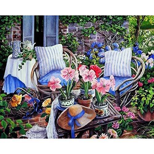 DIY Pintura al óleo - Silla de jardin - Pintura por números Adultos, niños y principiantes utilizan pinceles y pinturas acrílicas para la pintura artística - 40X50cm (Sin Marco)