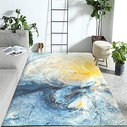 alfombra oficina alfombra grande Decoración del dormitorio de la sala de estar de la alfombra del estilo del arte de la tinta amarilla azul protector suelo silla ruedas 200X300CM 6ft 6.7'X9ft 10.1'