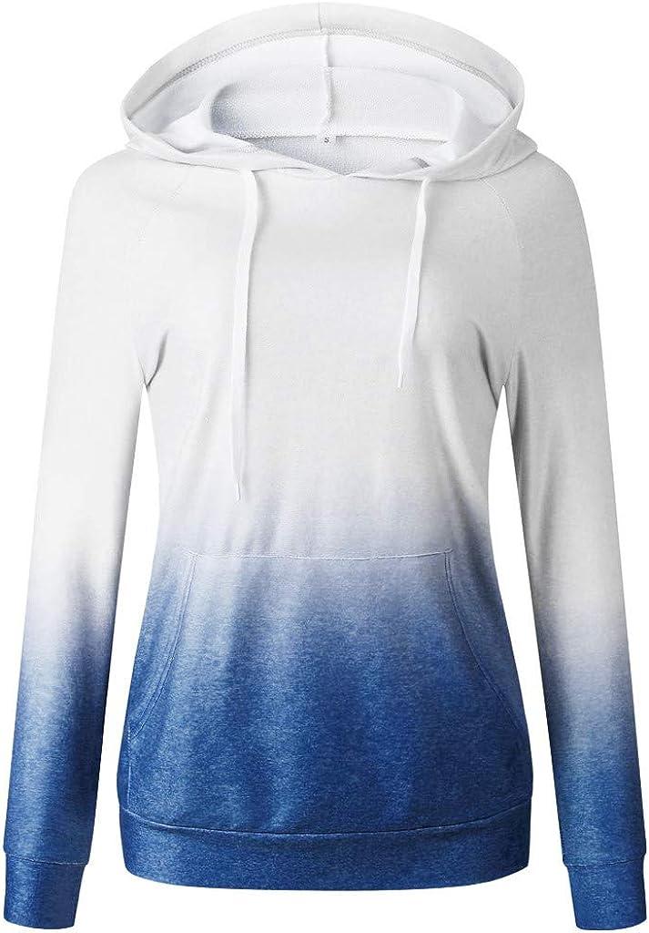 FABIURT Hoodies for Women,Womens Teen Girls Fashion Gardient Color Print Long Sleeve Casual Pullover Hoodie Sweatshirts