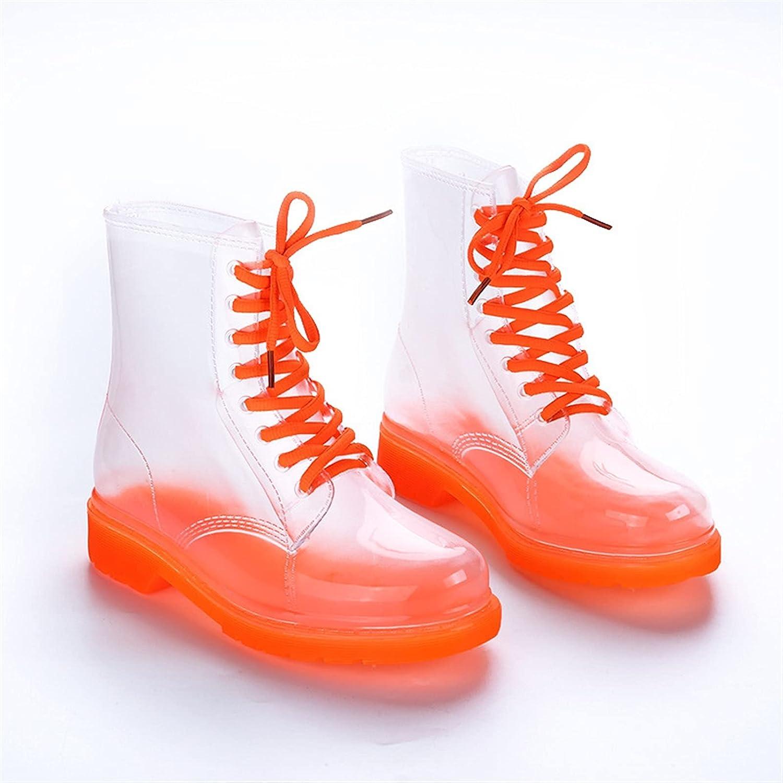 LUBINGT Rain Boots Women Rain Boots Transparent Waterproof Colorful Spring Autumn Shoes Rain Boot Woman Leopard Print Ankle Boots Large Size (Color : Transparent Orange, Shoe Size : 37)