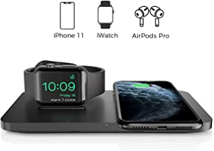 Seneo 2 in 1 Dual Wireless Charging Pad with iWatch Stand for iPhone/AirPods Pro/iWatch 5/4/3, 7.5W Qi Wireless Charger for iPhone 11/11 Pro Max/XR/XS Max/XS/X/8/8P(No iWatch Magnetic Charging Cable)