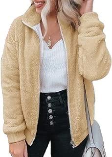 Howely Women's Stand-up Collar Long Sleeves Warm Fleece Outdoor Coat with Zip