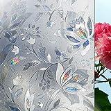 LMKJ Etiqueta engomada de la Ventana de privacidad de tulipán 3D película Decorativa Vidrio electrostático Opaco sin Pegamento película autoadhesiva película de Vidrio para baño