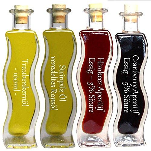 Geschenkset & Probierset | 2 x 100 ml Essig & 2 x 100 ml Öl | Cranberry Aperitif Essig - Himbeer Essig - Steinpilz Öl - Traubenkernöl