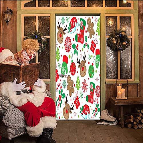 Vinyl Türtapete 77x200cm Weihnachten Element Kreativität Tür Fototapete Türposter Türpanel Foto Tapete Selbstklebend für Schlafzimmer Wohnzimmer Innentür Kunst Dekoration
