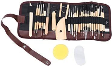 DOITOOL 30 peças de ferramentas de cerâmica de madeira, conjunto de ferramentas de esculpir cerâmica polímero de argila, k...