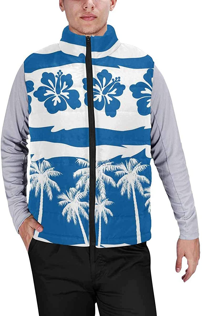 InterestPrint Men's Winter Full-Zip Outwear Padded Vest Coats Tropical Frangipani with Beach Palms XS