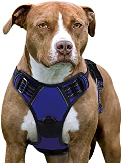 Eagloo Dog Harness No Pull, Walking Pet Harness with 2 Metal Rings and Handle Adjustable Reflective Breathable Oxford Soft Vest Easy Control Front Clip Harness for Small Medium Large Dogs