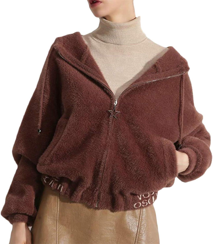JSY Women Hooded Jacket Outdoors Fall Winter FullUp Fleece Long Sleeve Sweatshirts