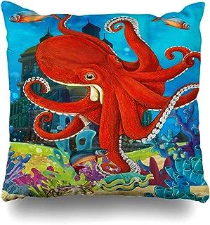 Ahawoso Throw Pillow Cover Turtle Andersen Underwater Castle Princess Fish Children Octopus Aquatic Design Decorative Pillowcase Square 16