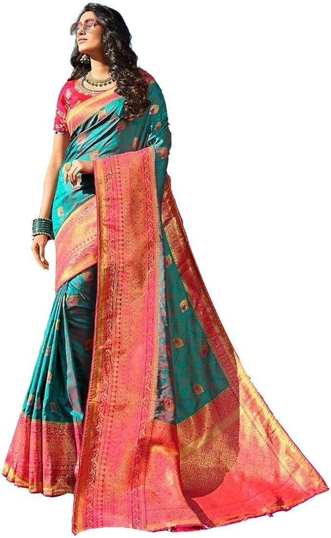 Women Wear Pure Banarasi Silk Sari Max 47% OFF with Piece Washington Mall Blouse 5075 K