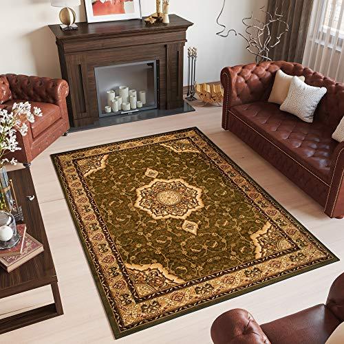 Tapiso YESEMEK Teppich Klassisch Kurzflor Orientalisch Teppiche Floral Ziegler Ornament Muster Bordüre in Grün Beige Barock Design Orientteppich Wohnzimmer ÖKOTEX 250 x 350 cm