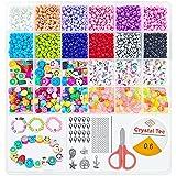 Juego de perlas de cristal de 4 mm para enhebrar cadenas y hacer pulseras, pulseras y pulseras con anillos de salto, joyas y banda elástica (3200 unidades)
