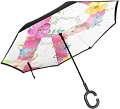 NGRBC Letter R Flower Double Layer Inverted Umbrella with C-Shaped Handle UV Protection Windproof Folding Inverted Umbrella for Car Rain Outdoor Use