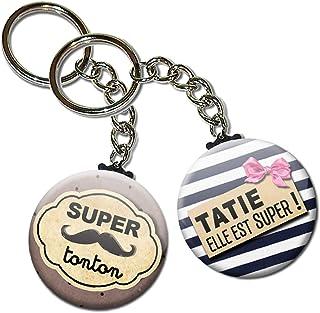 Duo lot de 2 Porte Clés Chaînette 3,8 centimètres Super Tonton Tatie Elle est Super Idée Cadeau Accessoire Famille Oncle T...