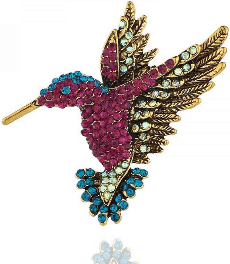 NC Diamond-Encrusted Hummingbird Brooch Personalized Animal Brooch Clothing Brooch Silk Scarf Buckle Dual-use-Gujin