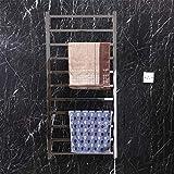 AJINS Calentador Toalla Calentador Estante Secadora, Montaje en pared-11 Barra Curvada Acero Inoxidable Baño eléctrico SPA Calentador de Toallas Calientes Estante