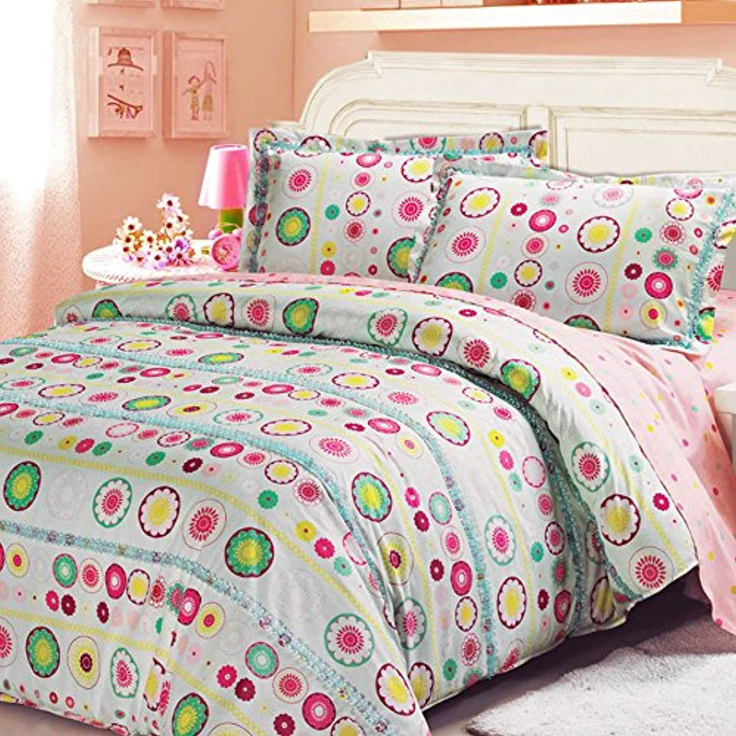 Norson colorful Bedding Sets Polka Dot Bedding Sets Girl Bedroom Bedding Sets Kids Bedding Set Bedding 100 Cotton Twin Queen (Twin)