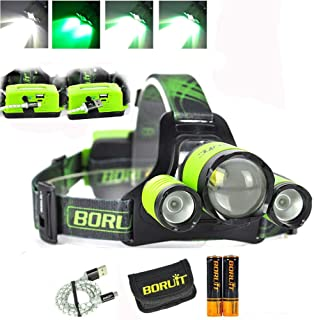 Upgrade Rechargeable Zoomable Headlamp, 4 Modes 5000 Lumen White Green LED Head Lights, 2X 2200mAh 18650 Batteries Power B...
