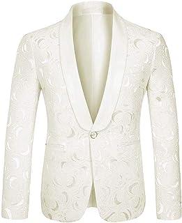 UMISS Men's Blazer Jacquard Suit One Button Shawl Lapel Jacket
