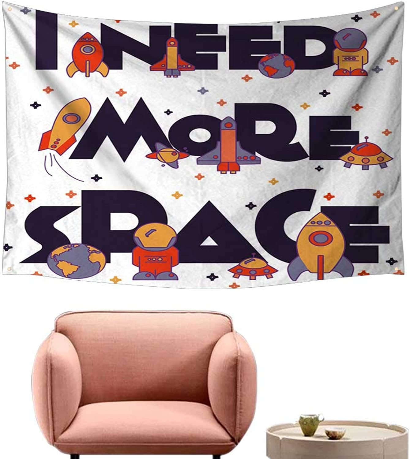 Alsohome Pattern Tapestry Tapestry for Girls Nee More Space. Flat Typography, T Shirt Graphics, S 60 X40