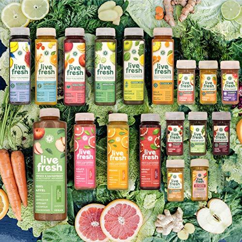 LiveFresh® Probierpaket alle Säfte und Shots - 18 Geschmackssorten - Deutsche Herstellung - frische Superfruits - reich an wichtigen Vitaminen - ohne Zuckerzusatz und Zusatzstoffe - nachhaltig