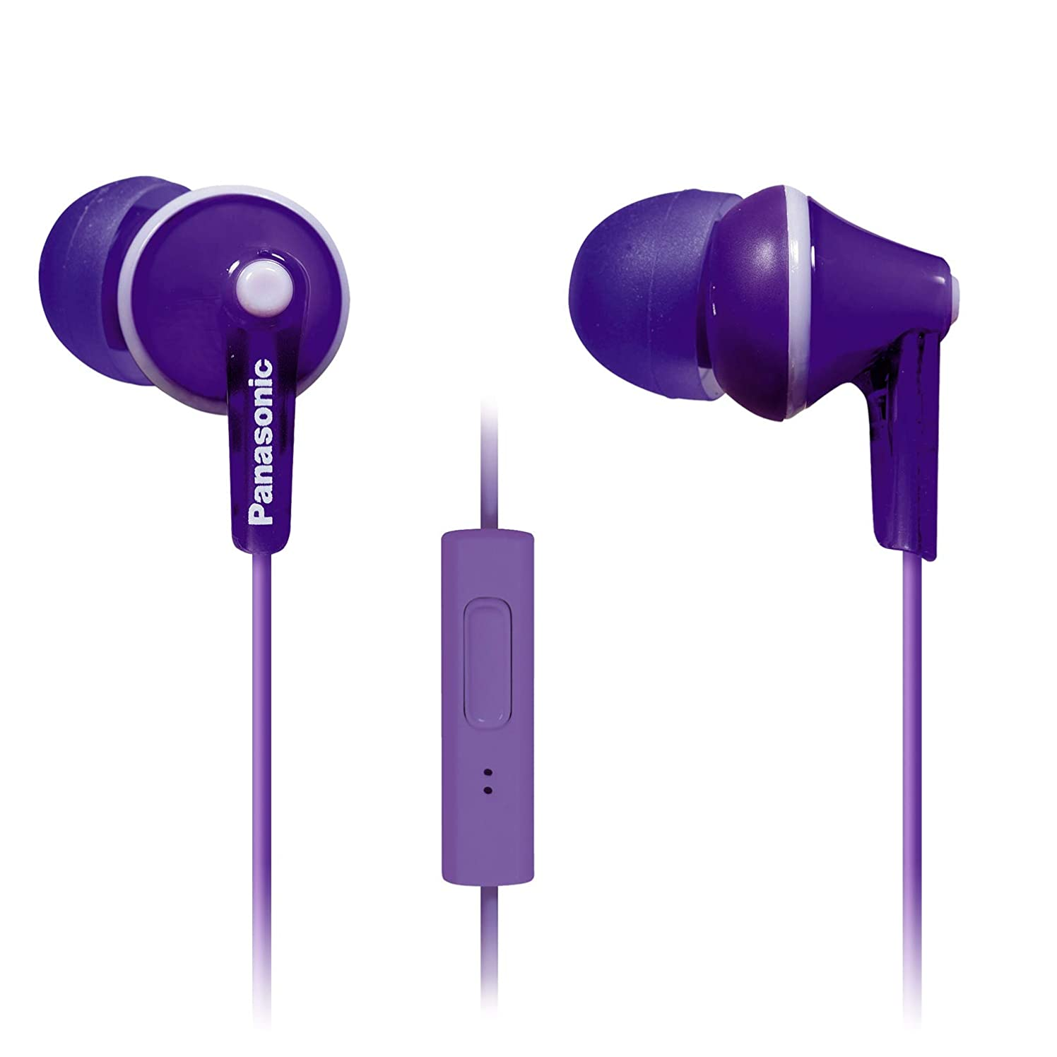 PANASONIC ErgoFit Earbud Headphones with Microphone and Call Controller Compatible with iPhone, Android and Blackberry - RP-TCM125-V - In-Ear (Purple)