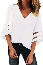 KANGMOON Women's V Neck Mesh Panel Blouse 3/4 Bell Sleeve Loose Top Shirt Women Pullover Tunic T Shirt Tee