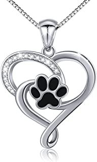 S925 Sterling Silver Puppy Dog Cat Pet Paw Print Love Heart Pendant Necklace 18 inches