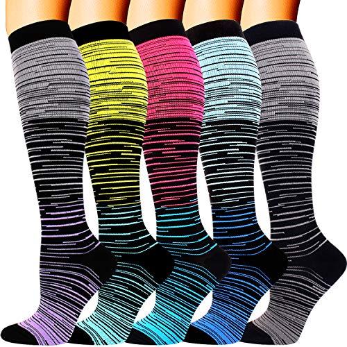 5 Pairs Compression Socks for Men Women 20-30 mmHg for Running Nurses Flight Pregnancy (Multicoloured, Small/Medium)