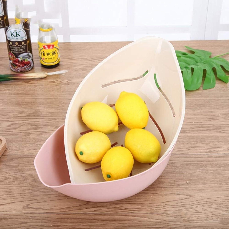 Corbeille à Fruits en Plastique, corbeilles à Fruits, Double Couche Creative WilFaible Leaf Corbeille à Fruits Maison Salon Présentoir De Fruits (Couleur  Rose)