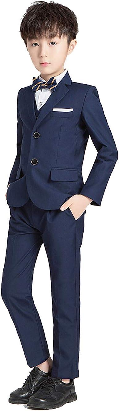 Conjunto de 5 piezas para niños, esmoquin ajustado, traje formal de boda, chaqueta, chaleco, camisa, pantalones y fiestas de cumpleaños