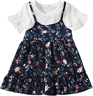 60351973775 Kasien Toddler Baby Girls Dress, Toddler Baby Kids Girls Fly Sleeve Ruched  Floral Flowers Print