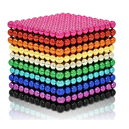 JIAKELOVEYI Rainbow Magnetic Balls 5mm 1000 PCS Fidget Blocks Earth Magnets Toys Office Desk Magnet Beads Magnetic Building Blocks Stress Relief for Adults (1000 Pieces)
