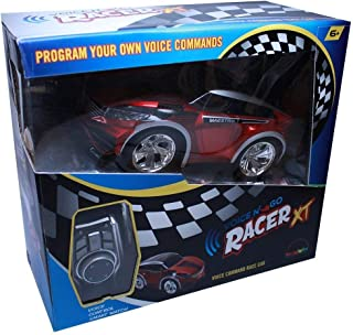 MukikiM Voice N' Go Racer XT - Red | Dual Controls, Voice (Customizable) & Control Watch Operated Remote Race Car | 2.4GHz, 5 Speed, USB Rechargeable [No Batteries Req], Customizable Color LEDs!