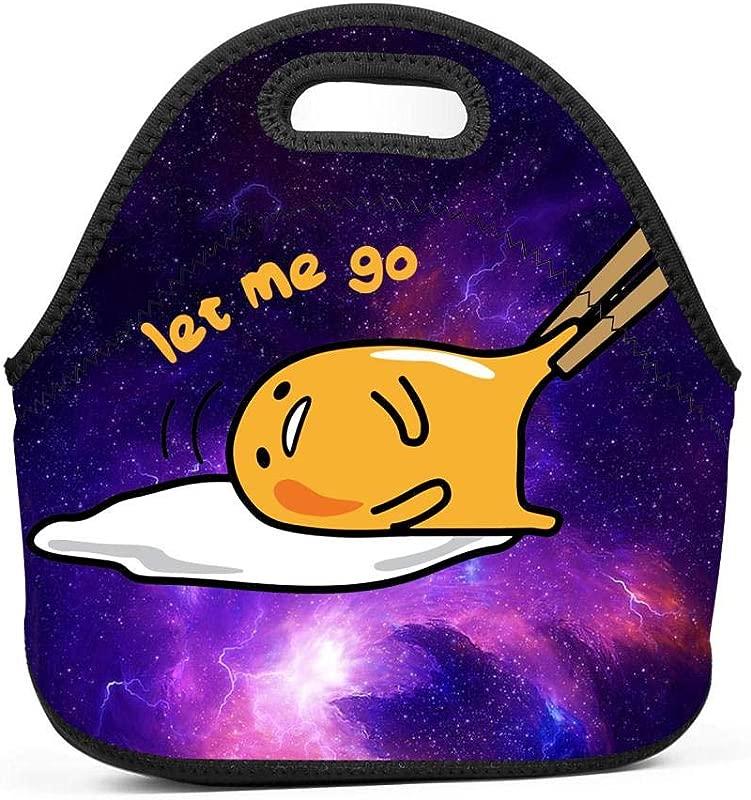 GCASST Gudetama Egg With Chopsticks Let Me Go Printed Lunch Bag Neoprene Insulated Lunch Box Reusable Tote For Girls Boys Kids Women Men Adults