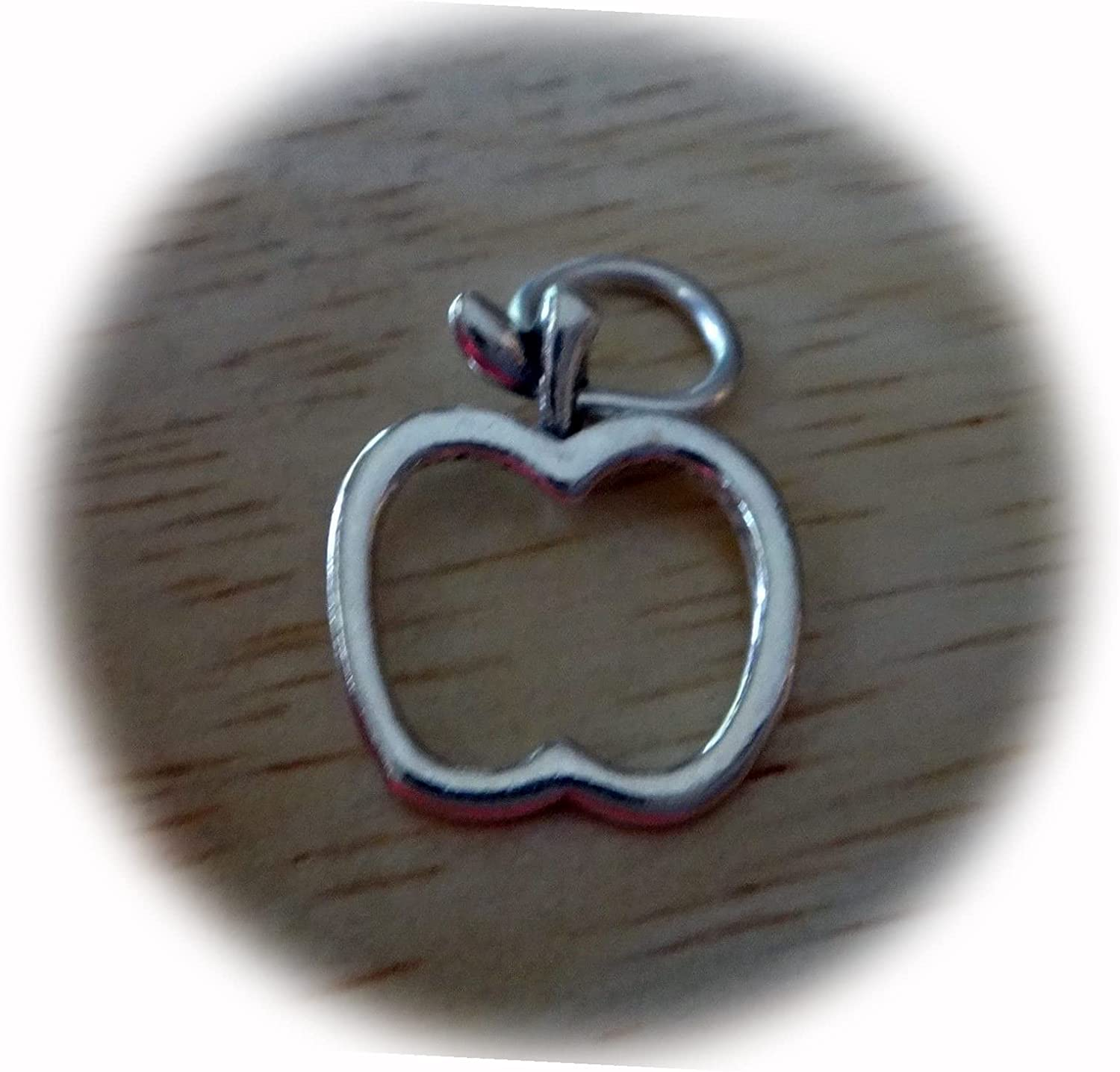 New Sterling Silver 15x13mm Teacher Safety and trust Apple School Ch Very popular fruitOutline