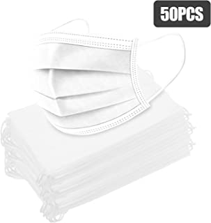 Nishore 50PCS Ma/sk 95% Filtration 3-Layer fog Haze Dust-proof Fa-ce ma-sk for Exhaust Gas Allergies Pollen PM2.5 Running Outdoor Activities (White) (White) (white 50pcs)