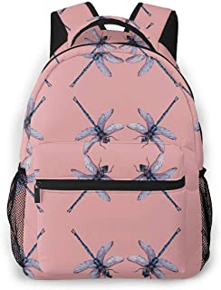 Laptop Backpack,Travel Computer Backpacks for Women & Men, Anti Theft Water Resistant College Student School Bookbag, Business Backpack Dragonfly Insect Pink