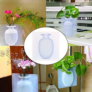 Silicone Vase Non-Glass Wall Sticked Planters Flower Pots Magic Rubber Silicone Sticky Flower Wall Hanging Vase Container Floret Bottle Home Decor Wall Accessories