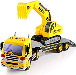 FEROXO Friction Powered Flatbed Truck with Excavator Tractor - Push and Go Construction Toy for Kids with Lights and Sounds - Realistic 1:16 Scale Design