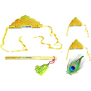 Ecospel Sree Krishna Janamastmi Set for Kids | Fancy Mukut, Bajuband, Peacock Feather & Flute Combo Set for Kids | Golden Color | Thread Color May Vary | Paper Material |